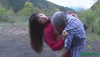 Far eastern Date Getting Her Pussy Licked And Fucked By Old Adult man Semen To Ass Outdoor adventure At
