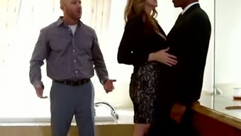 Whore partner gets her pussy polished by BBC in spite of her partner sitting down beside her
