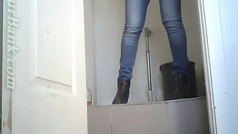 White horny little blondie among the toiletroom pissing on veiled cam