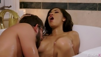 Wonderful fucking workout inside a bathtub along with big tits dark Shay Evans