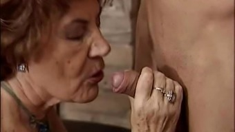 Granny seducing naughty stud.
