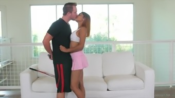 Skinny Katalina Mills gets talked into jumping on a big dick