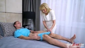 Youngster lover enjoys blowjob and fantastic with the use of well mature granny