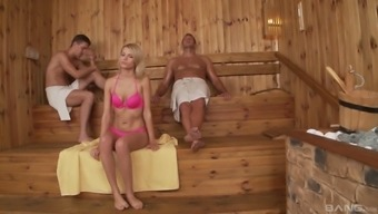 Karina\ Wonderful likes to fuck with the use of a pair of fellas at once inside the sauna