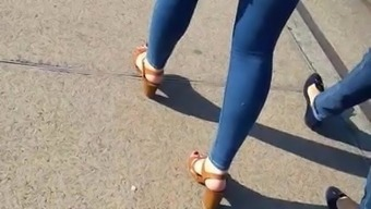 Perfect ass in tight skinny jeans and heels of french teen