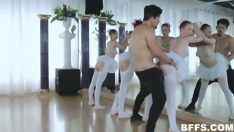 Three ballerinas enjoy having dirty sex with one horny stud