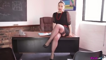 Curvy counter Olga is teasing and masturbating on the boss's tables