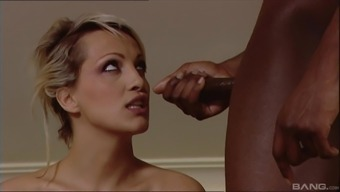 Blonde short haired MILF babe gets hard pounded with two black cocks
