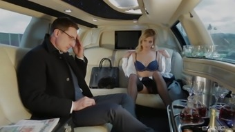 Horny blonde assistant Ria Sunn fucks her boss in a car
