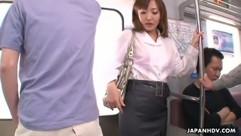 Slutty Japanese people hen Mami Asakura is fucked by a range of strangers within the subway automobile