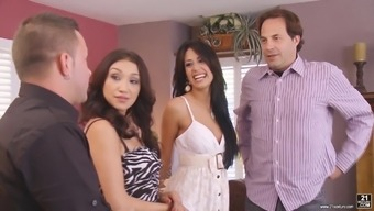 Fabulous group love-making with attractive Vicki Follow and her twisted buddies