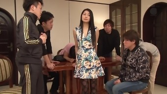 Natural environment blond Japanese people gorgeous having her first gangbang bukkake