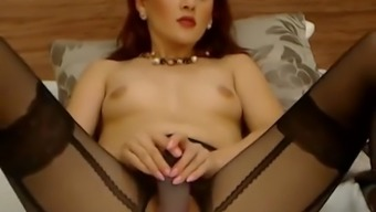 Blonde moaner on web camera stabs dildo in her own naughty soppy pussy