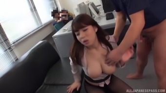 Busty brunette Mishima Natsuko has got a forceful companion playing with her