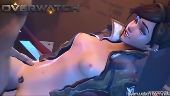 Horny very short hair Tracer from Overwatch gets fucked challenging