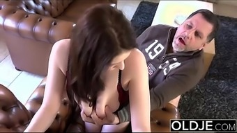 Old Younger Magnificent Large Titties girl fucks old mankind cums in their your mouth intense