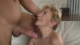 Attractive granny Malya gets her wet pussy jam-packed with a protracted bad fats phallus