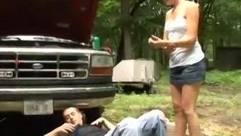 Lovely blond love you're pleased with someone by driving his rigid cock
