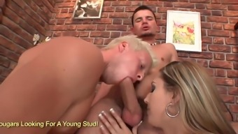 Gorgeous brown Kitty Jane and a couple of gentlemen enjoy in bisexual threesome