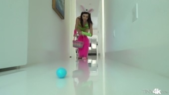 Funny babe in bunny wardrobe Audrey Kindness guzzles a dick before a steamy pussy thumping