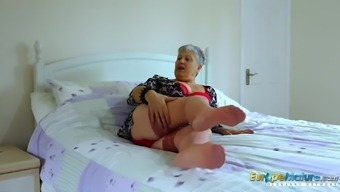 Grandma is stripping down seductively teasing with her sexy entire body