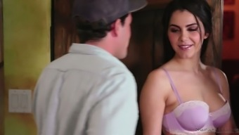 Big tits Italian masseuse Valentina Nappi gets her bright purple pussy fucked in assist stance