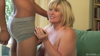 Blonde cougar must whisper as a inimitable man goes off her almost