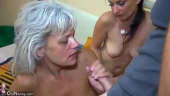 OldNanny Sector Sexual intercourse - threesome little bones along with mature group love-making