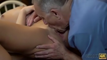 Daddy4k. man properly nails blackhaired hottie in daddy porn video