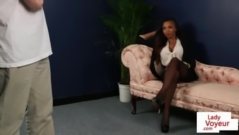 Black CFNM Brit instructs sub on how to jerk