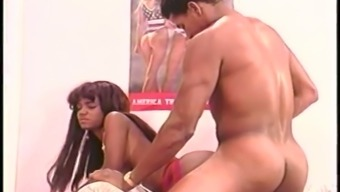 Fantastic babe with juicy black booty is so into riding firm cock