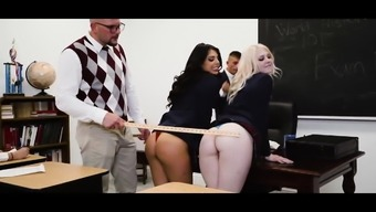 Dirty schoolgirls punished and spanked!