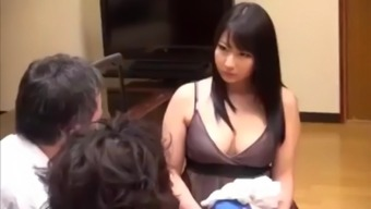 Japanese mom fat body big tits and son