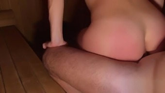 In a hot sauna, a guy seduced his beautiful stepsister and fucked her ass