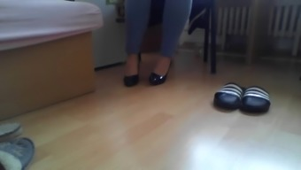 Young girl does pantyhose show for me