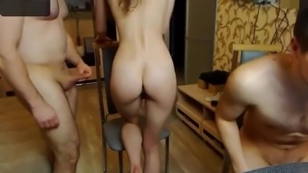 Real Homemade Amateur Threesome Blowjob