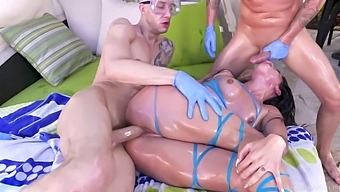 Kissa sins oil slick, 1st time with two cocks. Double creampie! (30. 03. 2018)