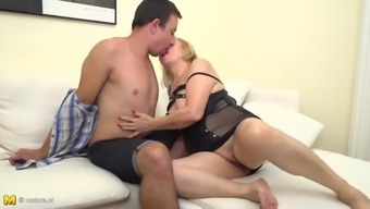 Hairy grandmother having taboo sex with boy