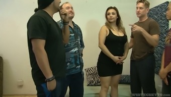 Chubby bitch Audrey Blue are fucked by several insatiable fellows