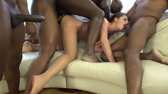 Skilled babe Cathy Heaven knows how to please more guys at once
