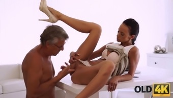 Old4k. flawless secretary seduces old man to get another