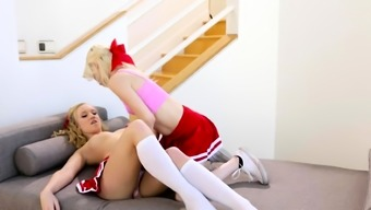 Sexy cheerleaders smacking pussies together