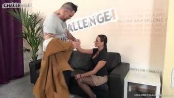 Mea Melone gets covered with cum while wearing fishnets