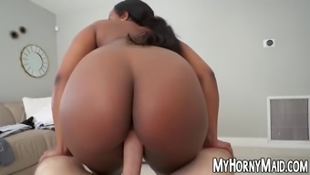 Stacked ebony maid nyna stax rides a big fat cock in pov