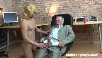 Shy mature gay grandpa gets his cock sucked before an ass fuck