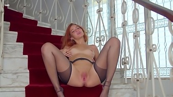 Sweet promiscuous vixen loves teasing on the stairs and she loves masturbating