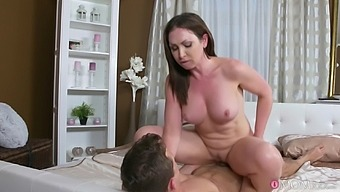 Lad deep fucks his step mom after licking her ass