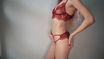 Pretty girl in red lingerie gets massive orgasm