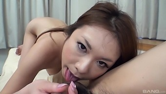 Hairy pussy Japanese girl Miharu Kai gets fucked on the bed