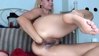 Tight sweet clit and ass solo toy fun
